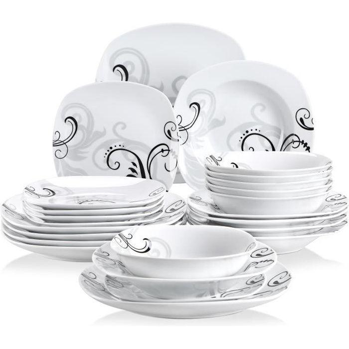 Veweet ZOEY 24pcs Service de Table 6pcs 9.75- Assiette Plate, 8.5- Assiette Creuse, 7.5- Assiette à Dessert, 6.7- Bol Porcelaine