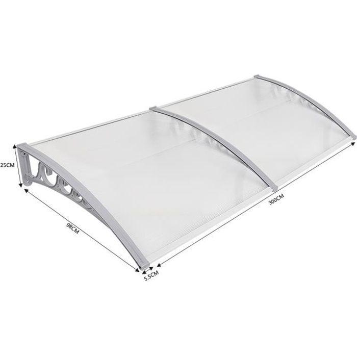 Auvent de porte marquise d'accueil aluminium100X300cm