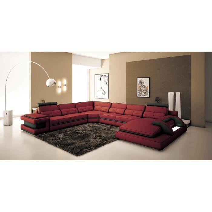 Canapé panoramique cuir rouge et noir design avec lumière IBIZA PANORAMIQUE - Angle Droit