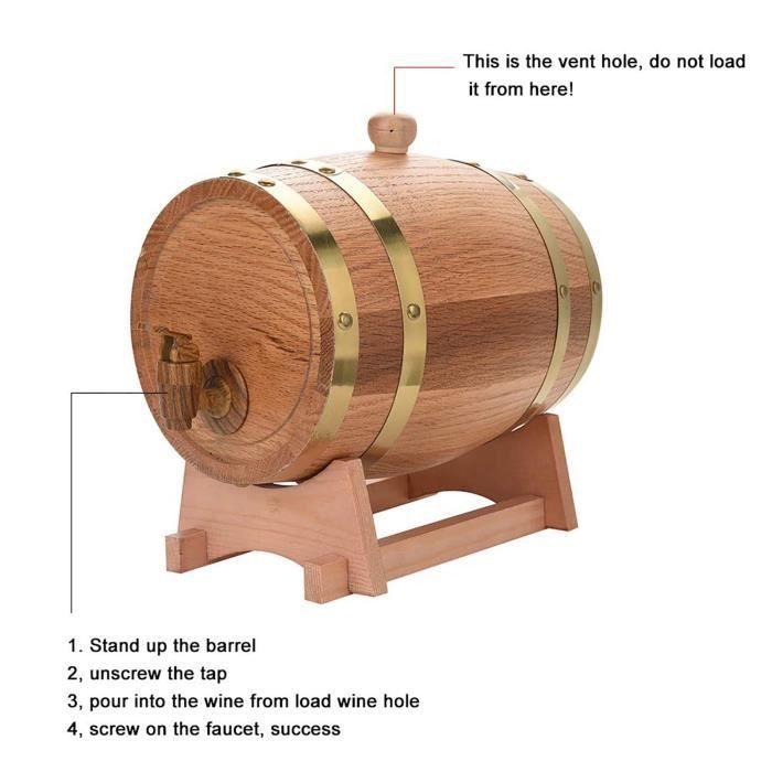 10L tonneau en bois de chêne avec support pour le stockage des vins