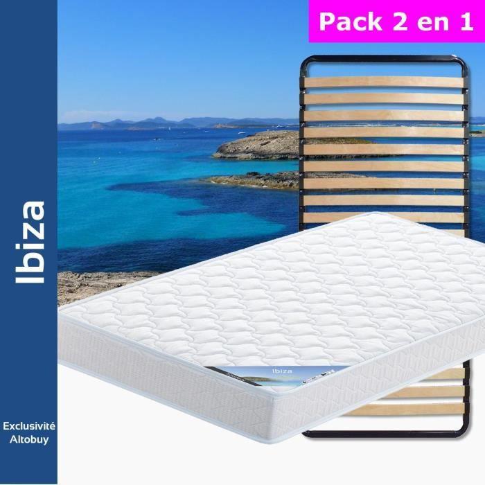 Ibiza - Pack Matelas + Lattes 90x190