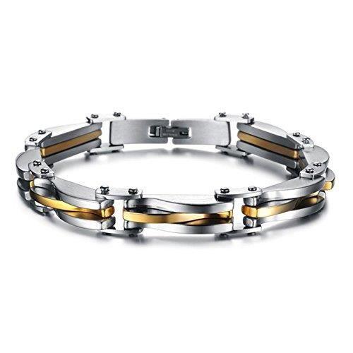 Bracelet Gourmette Bijoux Homme En Acier Inoxydable - Alu argent - Doré à maillon solide - ROBUSTE - Design Tendance