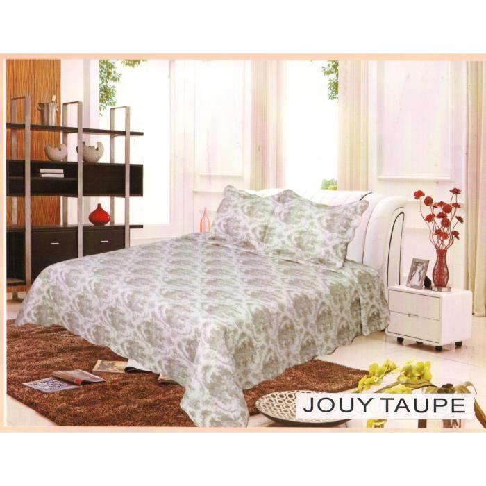 Jouy Taupe - Couvre-lit Boutis imprimé - Lit 2 Places - 3 pièces (230x250cm)