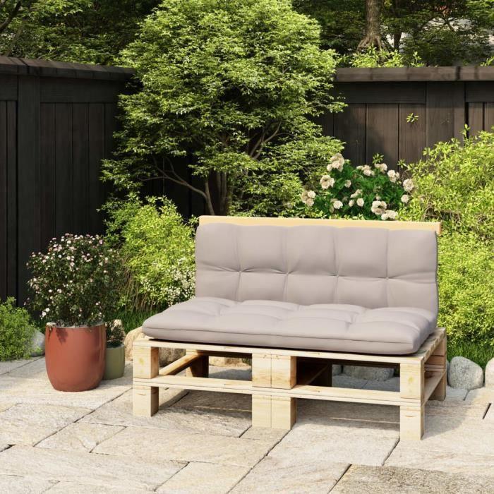 CD4002Elégant Coussin de sol Grand Confort Coussin extérieur Dossier pour canapé palette 110 cm Bois de pin solide