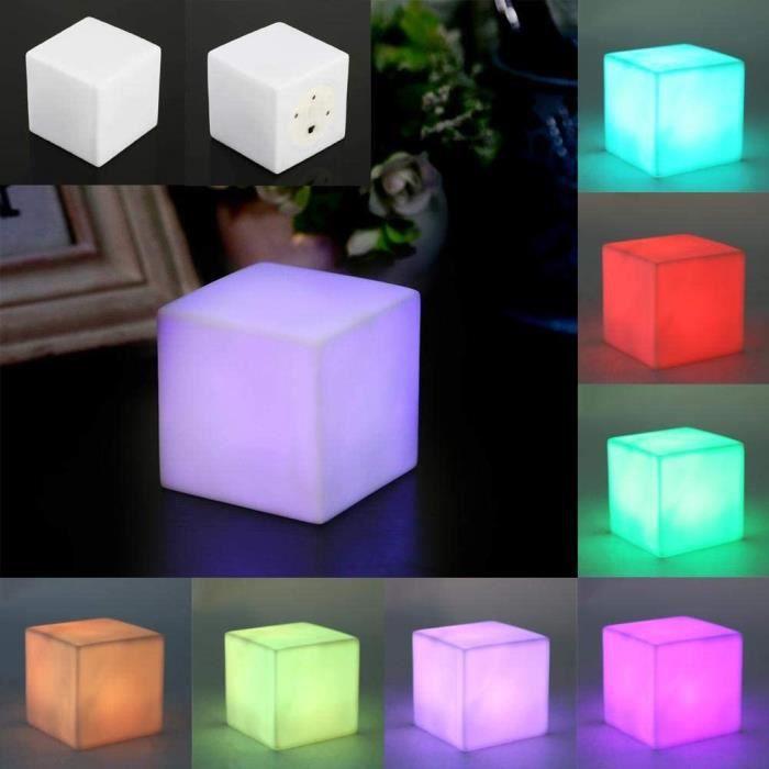 LED Night Light Color&eacute Changeant D'ambiance Cube Lampe De Table Lumineuse Gadget Lampes De Vestibule Romantique Lampes Mu188