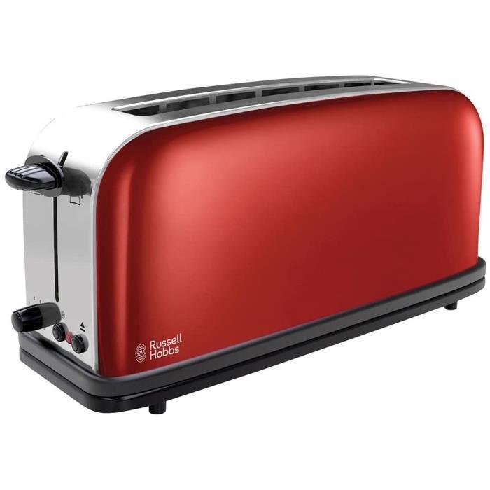 Russell Hobbs Toaster Grille-Pain, Fente Large Spécial Baguette, 6 Niveaux de Brunissage, Décongèle, Réchauffe - Rouge 21391-56 Colo