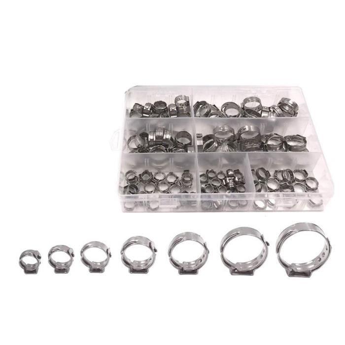 CHA cinch anneaux de serrage Kit d'assortiment de colliers de serrage en continu à une oreille outils de raccord à pince à sertir
