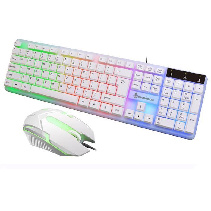 rétroéclairé clavier arc en ciel clavier de jeu Usb et souris filaire 1 ensemble blanc