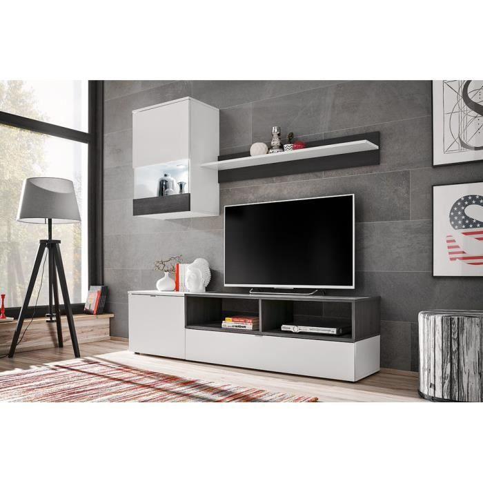 EBBA - Unité murale style scandinave 3 pcs - Éclairage LED blanche inclus - Mur TV - Ensembles meubles salon séjour - Aspect bois -