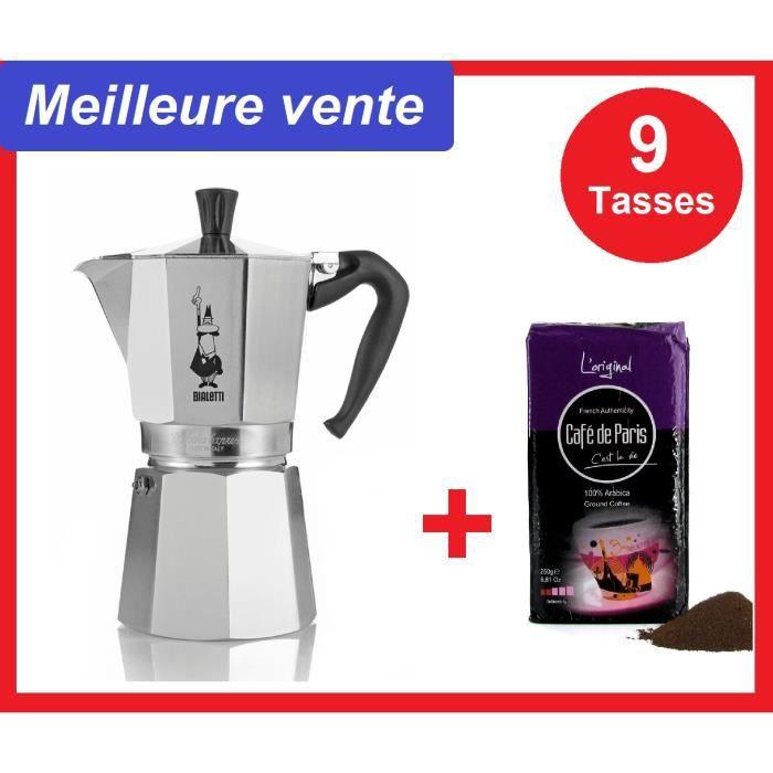 BIALETTI Cafetière, Alu, 9 Tasses, Livraison offerte + café 250g