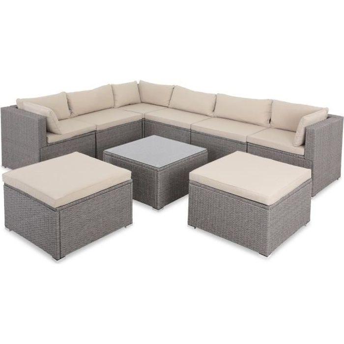 Salon de jardin gris polyrotin 26 pièces lounge ensemble de jardin set table canapé de jardin modulable coussins crème housses