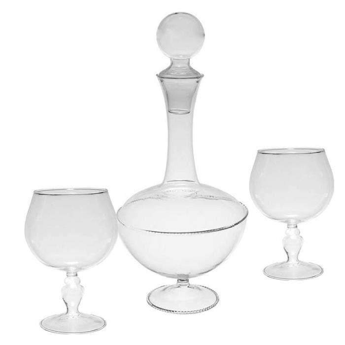 Coffret carafe 6 verres dégustation 1l 15 cm Transparent