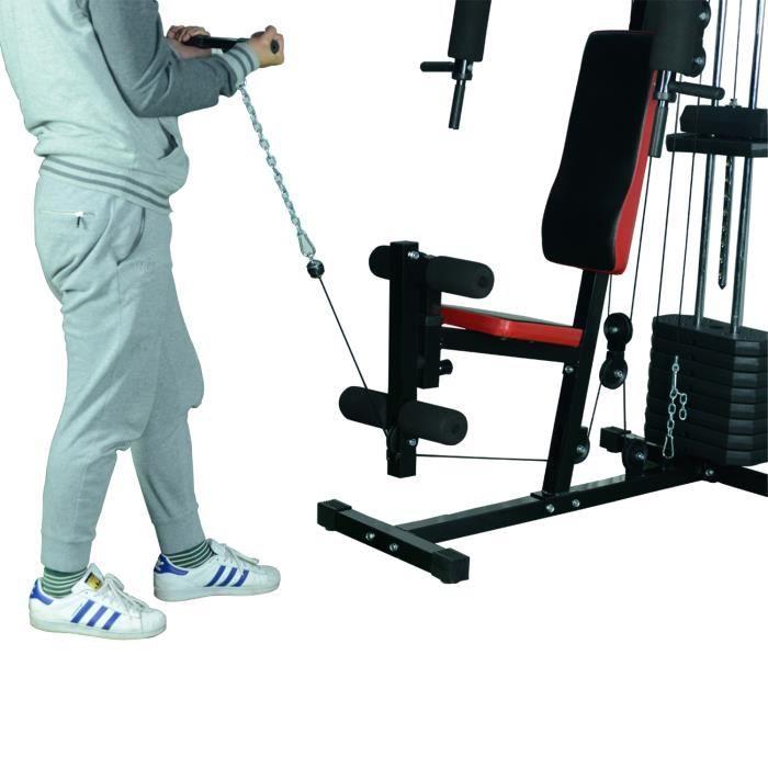 Station de musculation Fitness entrainement complet développé couché butterfly barre latissimus curler et 10 contrepoids noir rou...