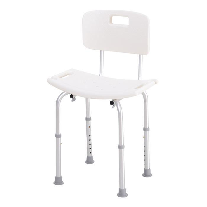 Chaise de douche siège de douche ergonomique hauteur réglable pieds antidérapants charge max. 136 Kg alu HDPE blanc 55x50x85cm