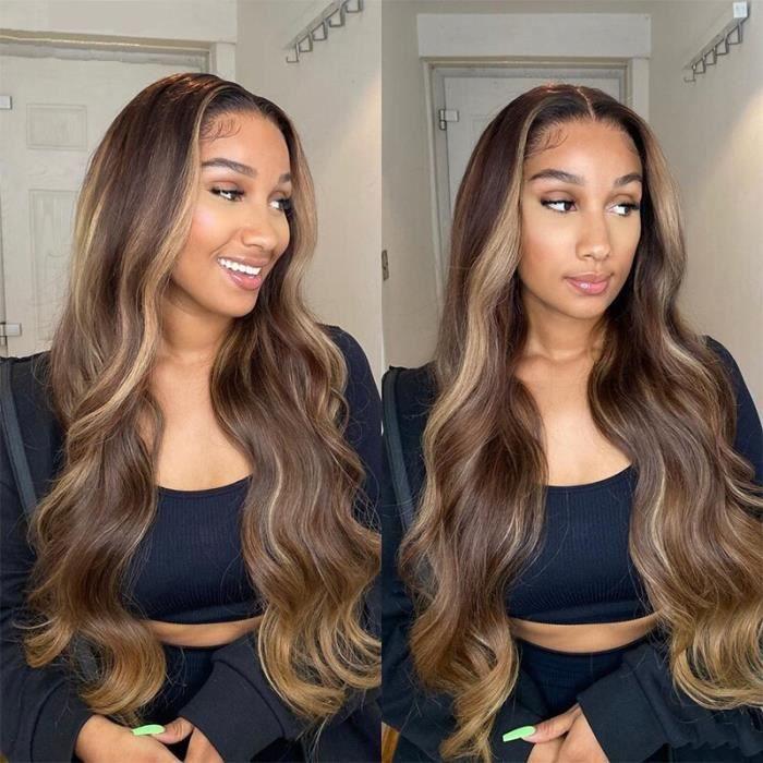 28'' Perruque Lace Front Wig Body Wave Brésilienne Remy Cheveux Naturels Brun Ombré T Partie