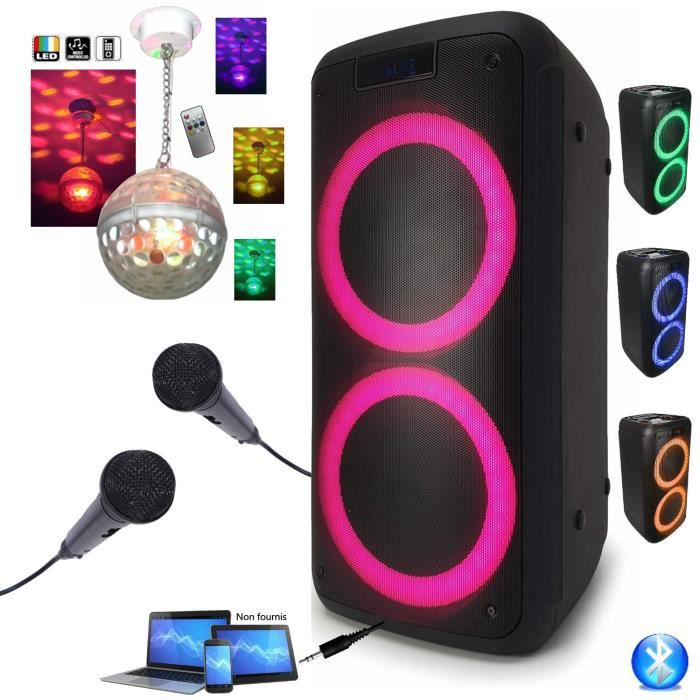 Enceinte Active Autonome FREESOUND400 400W Bluetooth, USB, MICRO-SD - 2 Micros + Jeu de Lumière ASTRO BALL8
