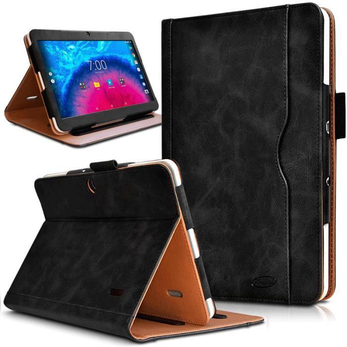 Pack Étui de Protection Noir + Verre Flexible + Stylet pour Archos Core 101 3G V2 (160x250mm)
