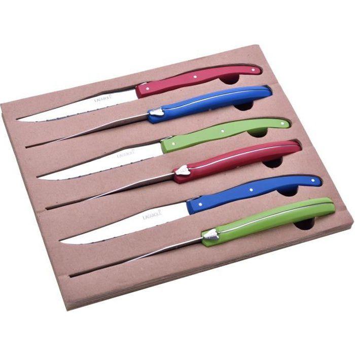 Coffret 6 Couteaux à steak - Manches en bois de Hêtre - Rouge, Bleu, Vert