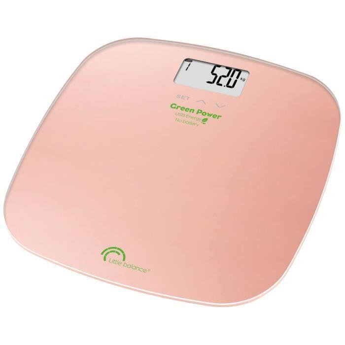 LITTLE BALANCE - Pèse-personne rose nacré 180 kg / 100 g IMC Soft