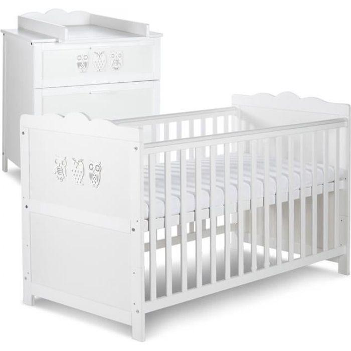 chambre complete bebe MARSELL Ensemble commode à langer + lit bébé 140X70