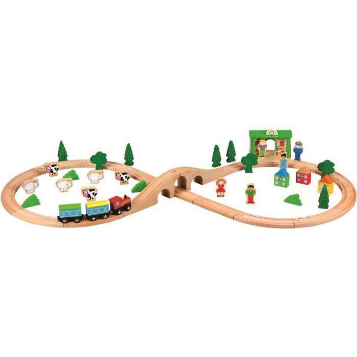 CIRCUIT TRAIN EN BOIS - 50 pcs