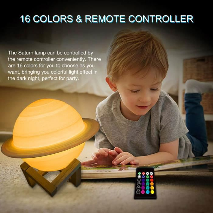 Lampe 3D rechargeable Saturn Like Lampe Moon Light Night Light pour Moon light avec 16Colors Remote Gifts