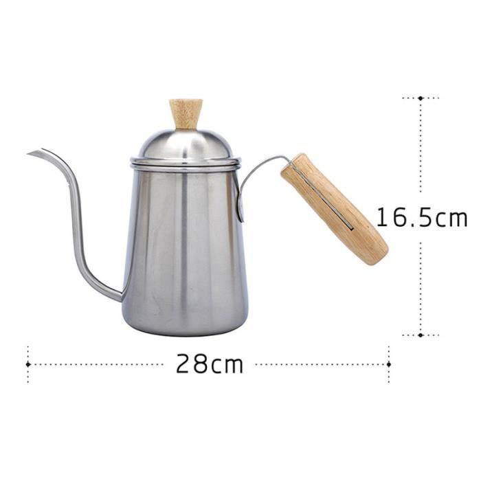 Bouilloire à café en acier inoxydable Poignée en bois Cafetière à créative BOUILLOIRE ELECTRIQUE