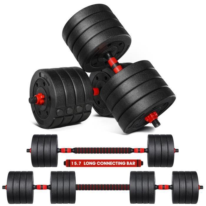 MOVTOTOP 50KG Bâtiment musculaire Tool d'haltérophile Set d'haltère barre - haltere - poids fitness - musculation