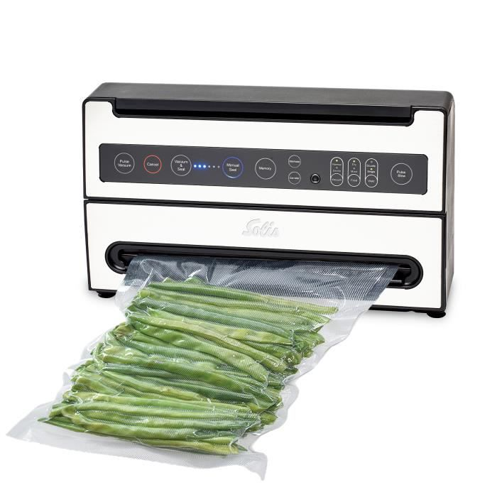 Machine Sous Vide Alimentaire - Fonction de Marinage et de Mémoire - Compartiment du Rouleau - Gris - VertiVac Plus 5703 Solis