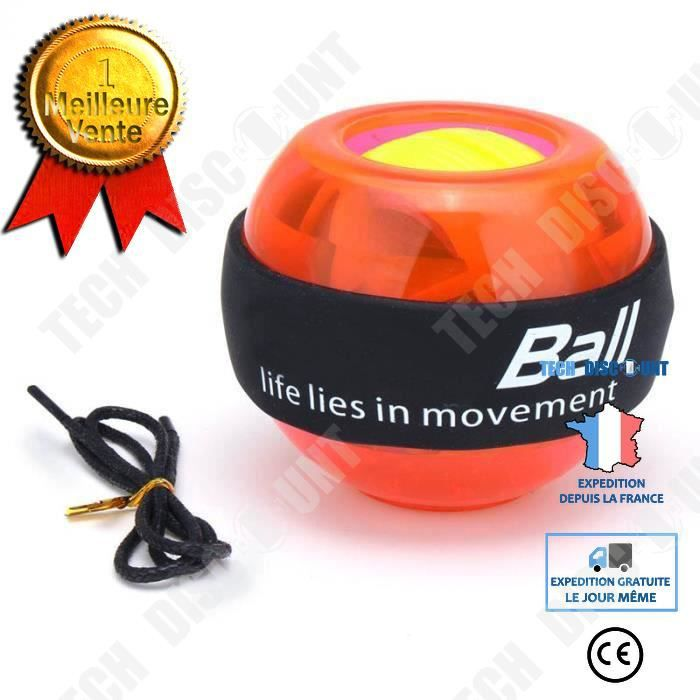 TD® Accessoires Fitness - Musculation,Gyroscope Powerball LED Gyroscope puissance poignets balle bras exercice Force - Type Orange