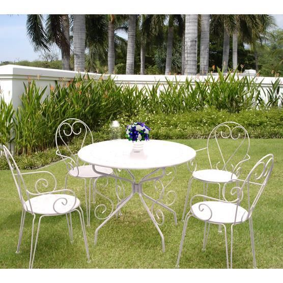 Salon de jardin m tal blanc 1 table ronde 4 fauteuils for Peinture table de jardin metal