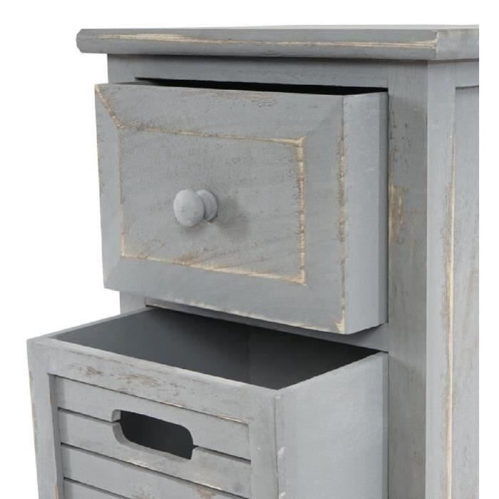 commode 4 tirroirs 74x30x25cm chic vintage gris achat vente commode de chambre commode 4. Black Bedroom Furniture Sets. Home Design Ideas