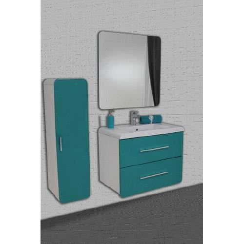 meuble gino bleu lagon miroir led 80 cm achat vente salle de bain complete meuble gino bleu. Black Bedroom Furniture Sets. Home Design Ideas