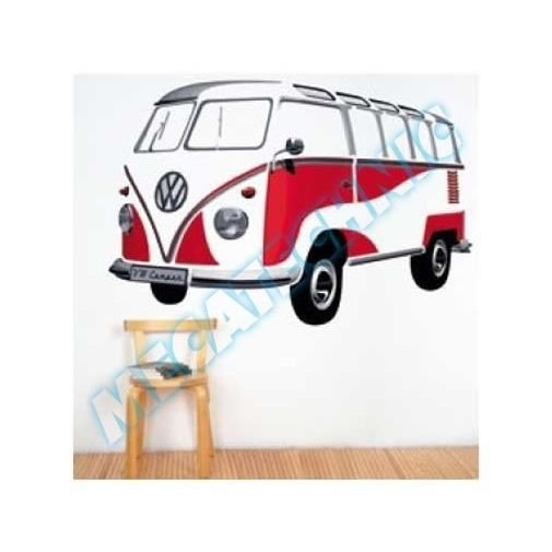 stickers muraux vw combi split rouge pvc 180 x achat. Black Bedroom Furniture Sets. Home Design Ideas