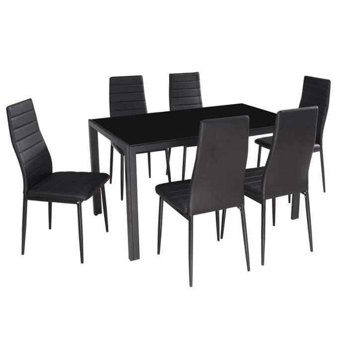 ensembltable en verre 6 chaises noir design sam achat. Black Bedroom Furniture Sets. Home Design Ideas