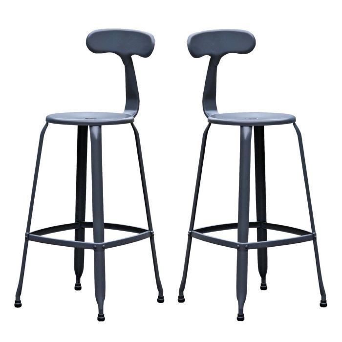 lot de 2 tabourets de bar vintage hugo 75 coule achat vente tabouret de bar gris cdiscount. Black Bedroom Furniture Sets. Home Design Ideas
