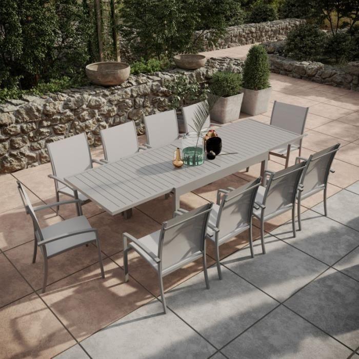 Ambientehome 50216 Table Extensible en Aluminium Noir 127-180 x 77 x 71 cm