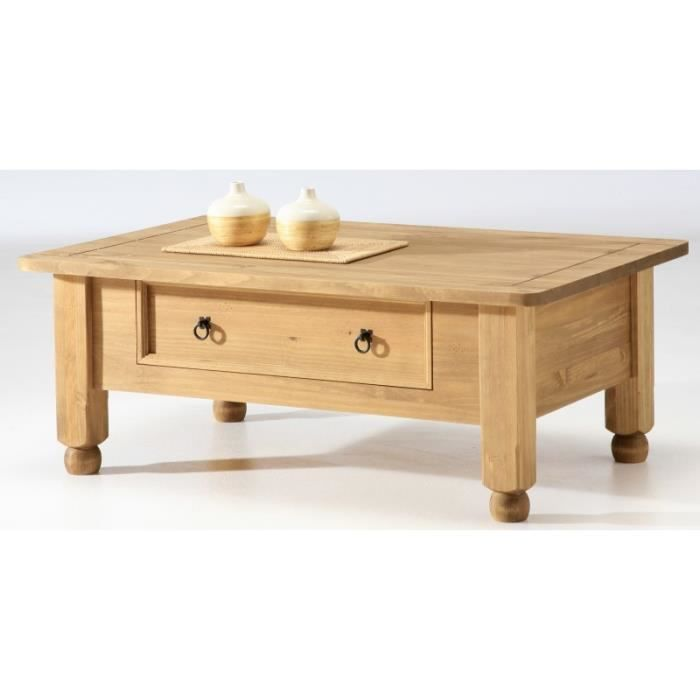 Table basse 1 tiroir en pin cir tequila achat vente table basse table ba - Table de salon avec tiroir ...