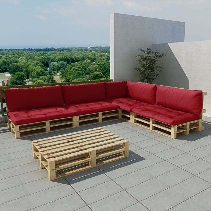 salon de jardin 15 pcs en palette avec coussins rouge. Black Bedroom Furniture Sets. Home Design Ideas