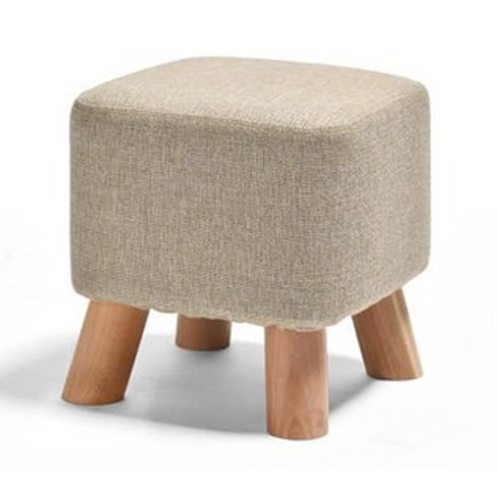 petit tabouret pouf en bois carr repose pieds rembourr. Black Bedroom Furniture Sets. Home Design Ideas