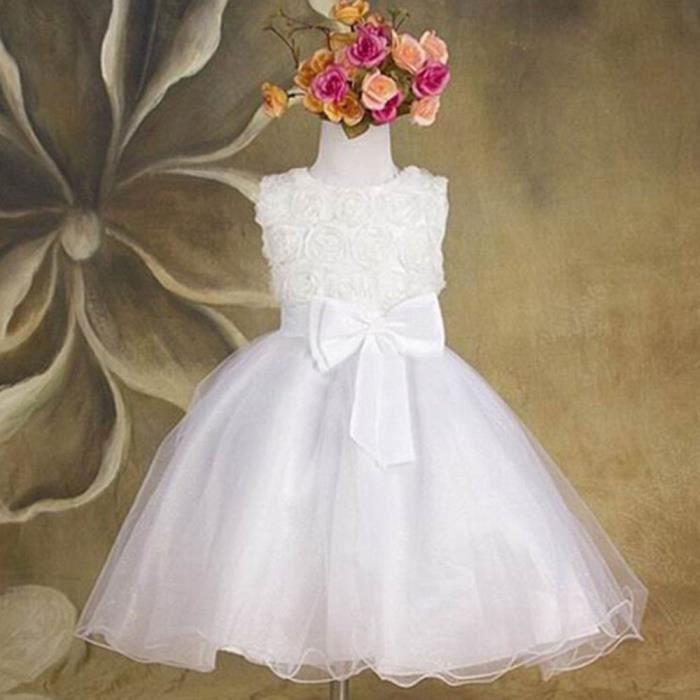 Bébé Fleur Filles Blanc Organza 2 pc robe robe de baptême baptême bonnet NEUF