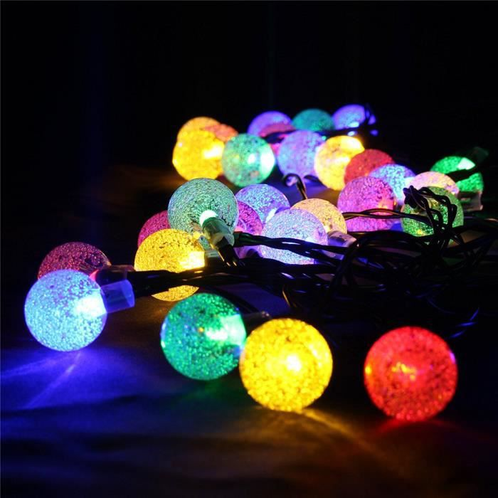 guirlande lumineuse solaire 30 led boules longueur 4 5m eclairage solaires multi couleurs. Black Bedroom Furniture Sets. Home Design Ideas