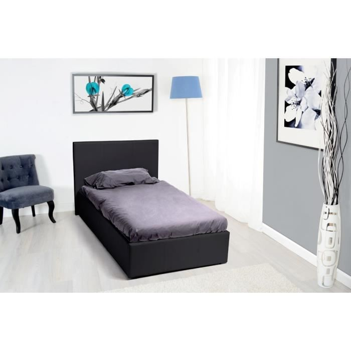 royal lit coffre 90x190 pvc noir avec sommier achat. Black Bedroom Furniture Sets. Home Design Ideas