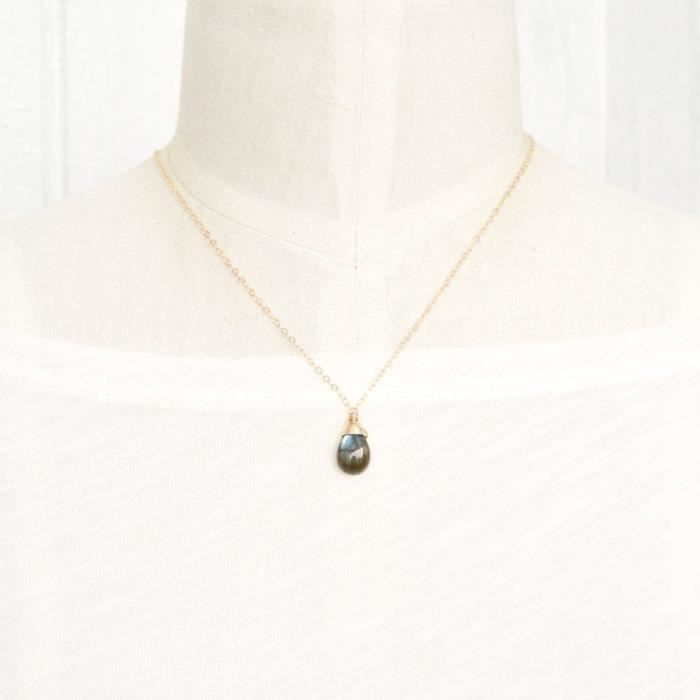 Womens Labradorite Necklace Solitaire Pear Drop 14kt Gold-filled 17 Inch Length HGTQ6