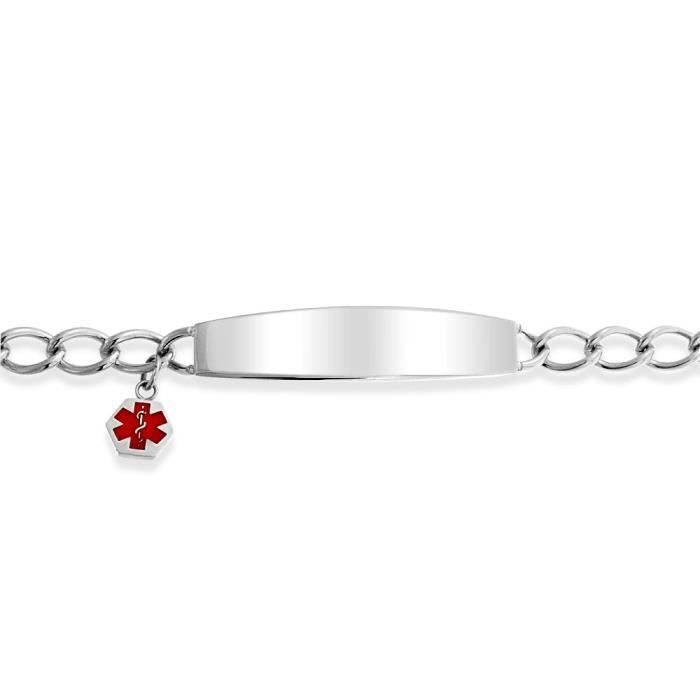 Bling Jewelry Womens Medical Alert en acier inoxydable bracelet à breloque ID émail rouge 7.5in