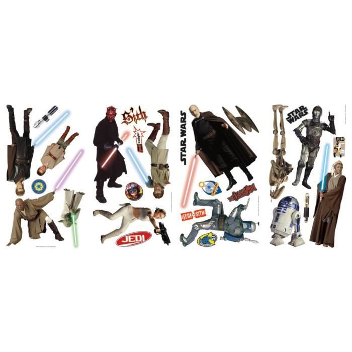 STAR WARS Stickers Muraux Enfant 4 Planches Repositionnables