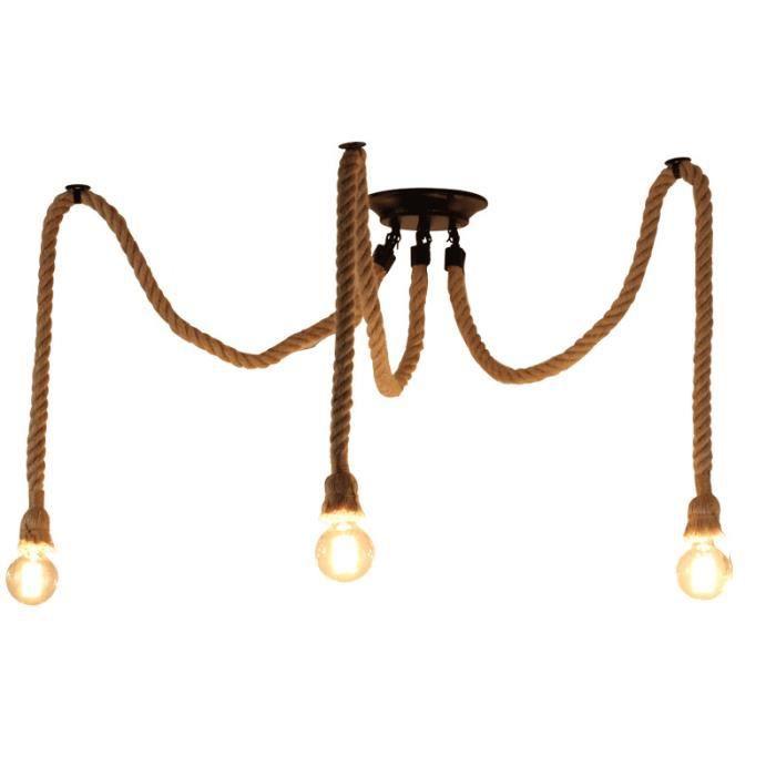 Lustre Suspension Corde de Chanvre Araignée 3 Tête E27 pour Chambre 2m Noir Sans ampoule