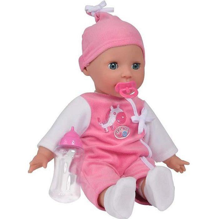 Poupon parle(24sons:maman,dada,hihi,etc...)-30cm-Laura-Marque Smoby-+1 tétine+1biberon-Yeux dormeurs-Pyjama et bonnet-Piles fournies