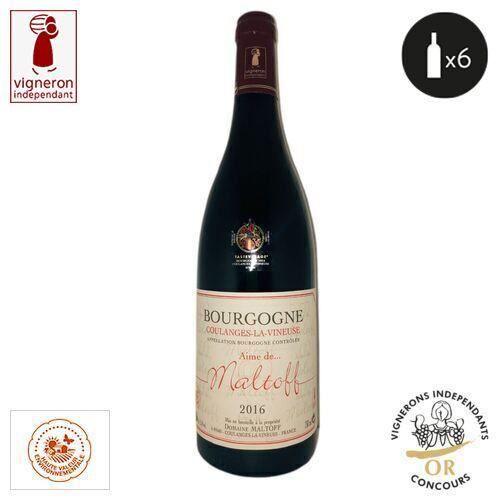 6 bouteilles - Vin rouge - Tranquille - Domaine Maltoff Aime de Maltoff Bourgogne Coulanges la euse Rouge 2016 6x75cl