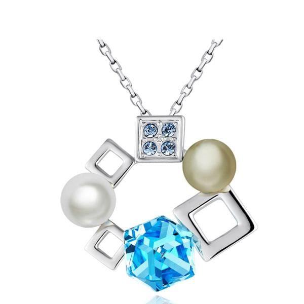 Pendentif Perle et Cubes en Cristal de Swarovski Elements Bleu et Plaqué Rhodium